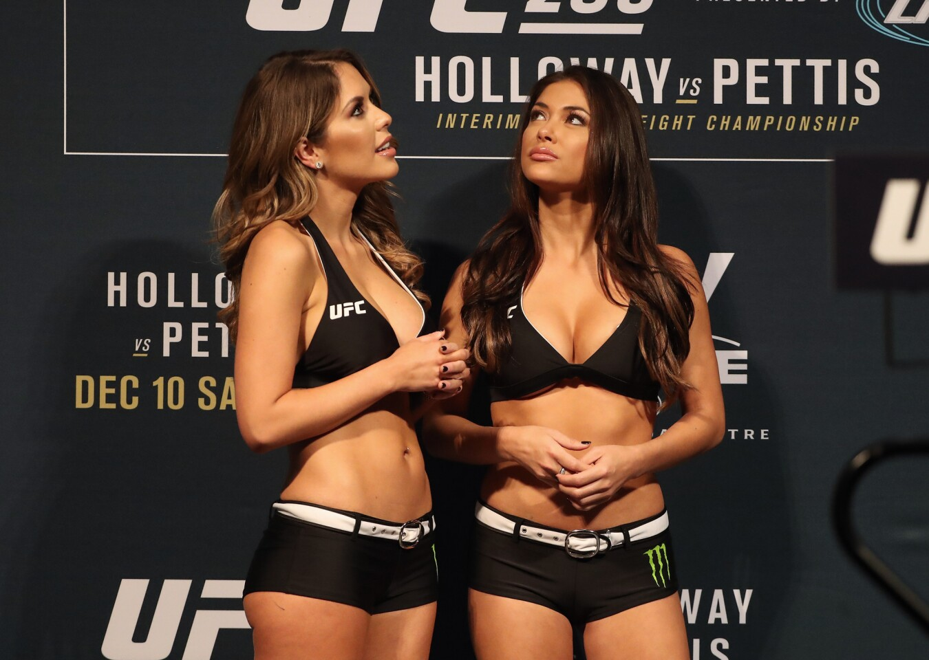 Dec 9, 2016; Toronto, ON, Canada; Octagon girls Brittney Palmer and Arianny Celeste during weigh ins for UFC 206 at Air Canada Centre. Mandatory Credit: Tom Szczerbowski-USA TODAY Sports ** Usable by SD ONLY **