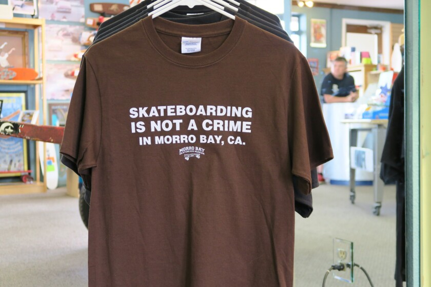 The Morro Bay Skateboard Museum offers a wealth of historical items representing skateboarding from its earliest days, as well as souvenir tees such as this one. The museum receives about 40,000 to 50,000 visitors per year, according to owner Jack Smith, a lifelong skateboarder and Morro Bay resident.