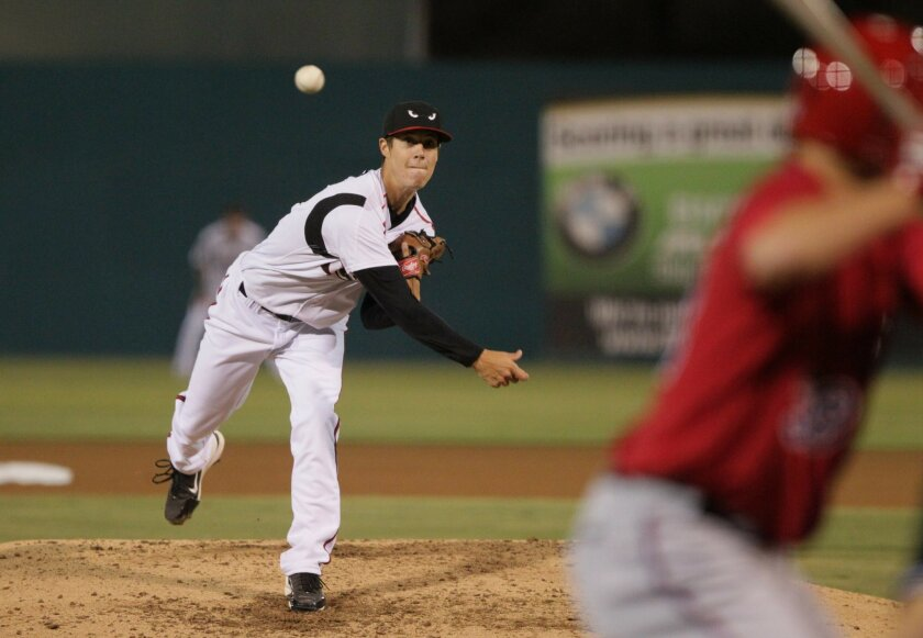 Lake Elsinore Storm beats Inland Empire 66ers, 3 to 0 in their home opener- Storm starting pitcher Matthew Wisler fires to the plate.