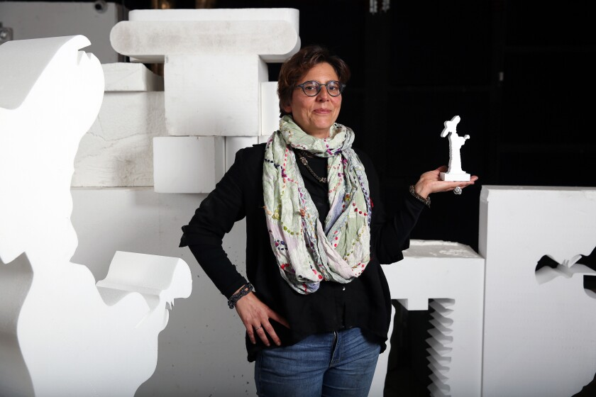 LOS ANGELES, CA-DECEMBER 11, 2019: Katrien Van Der Schueren poses for a portrait holding a 3-D print resembling a larger piece she is working on Martyn Lawrence Bullard, for a private residence at Maravilla in Cabo, on December 11, 2019 at her studio at 749 N. LaBrea in Los Angeles, California. (Photo By Dania Maxwell / Los Angeles Times)