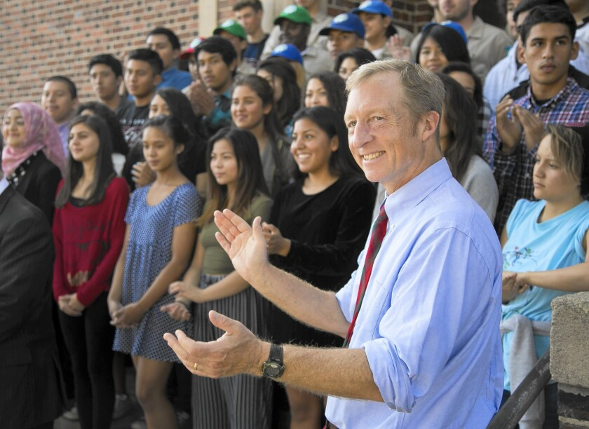 Tom Steyer appears at John Marshall High School in Los Angeles. Steyer has decided not to run for the Senate.