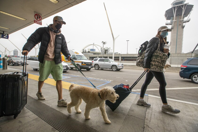 Travelers wearing masks arrive with their dog and luggage at LAX on Monday