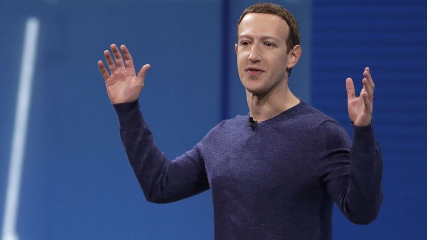 Mark Zuckerberg gives the keynote address at F8 in May 2018