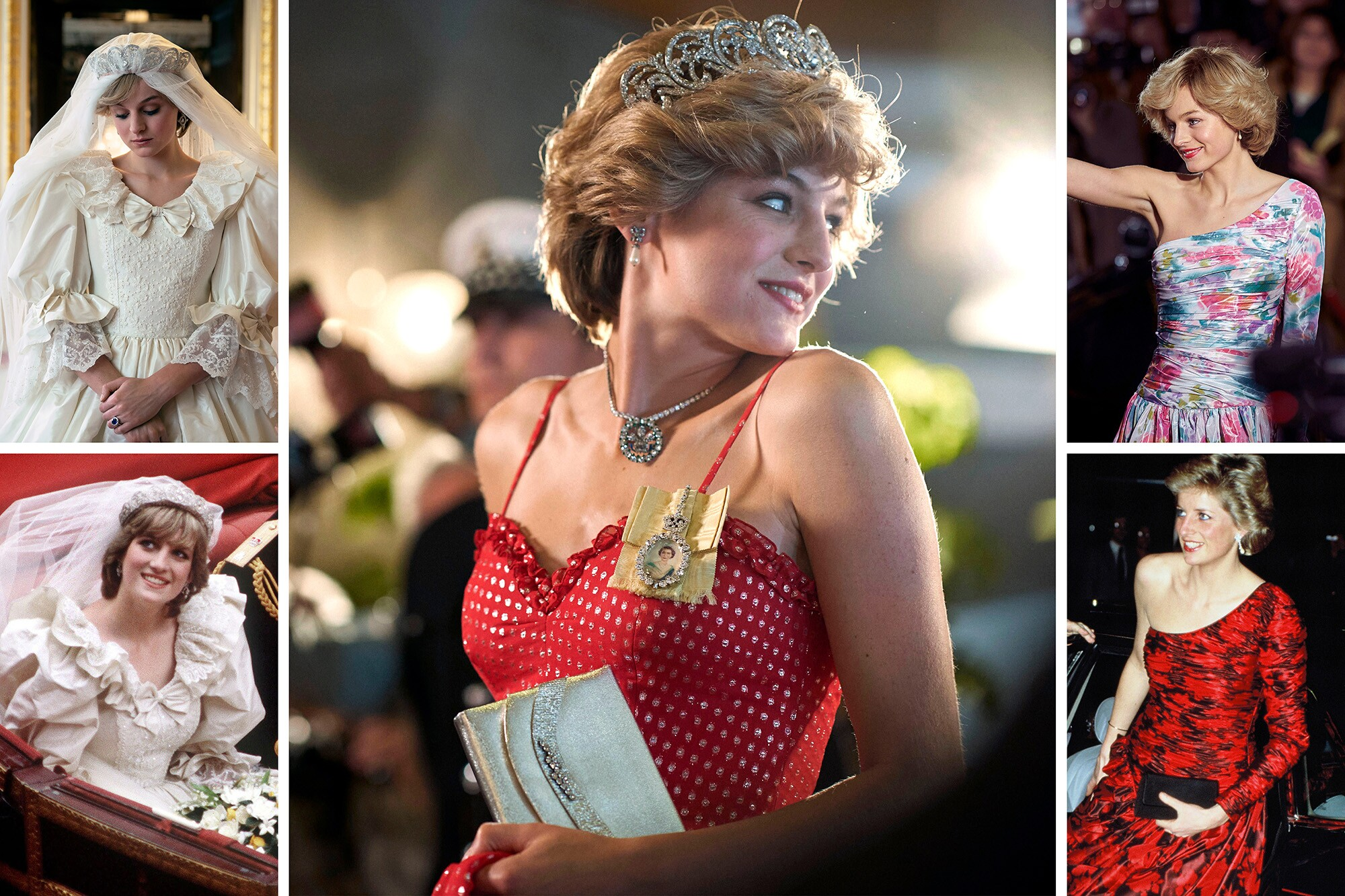 """Princess Diana and the actress who plays her in """"The Crown,"""" Emma Corrin, in some of her iconic looks"""