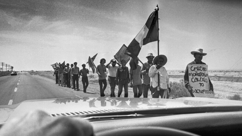 May 12, 1971: Chicanos marching along a desert road near the Salton Sea during a protest march from Calexico to Sacramento.