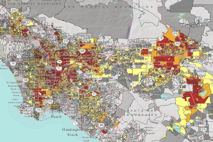 In the EPA's environmental justice map, red and orange shows census block groups in Southern California where close proximity to federal Superfund sites overlaps with a high percentage of low-income and minority residents.