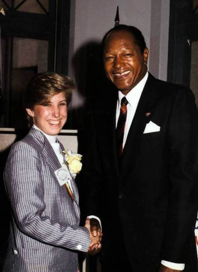 Wendy Greuel and former Mayor Tom Bradley are shown in 1980, when Bradley presented Greuel, a high school senior, with a Youth Leadership Award.