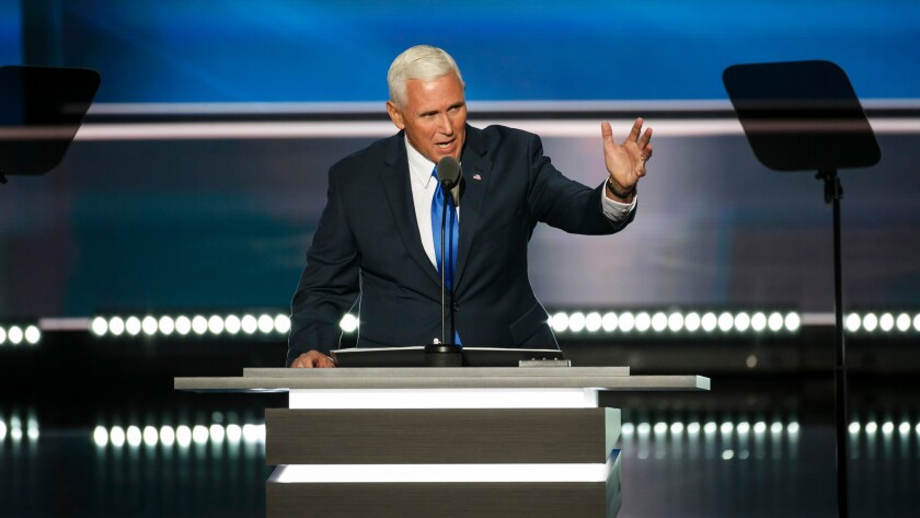Indiana Gov. Mike Pence takes the stage Wednesday at the 2016 Republican National Convention in Cleveland.