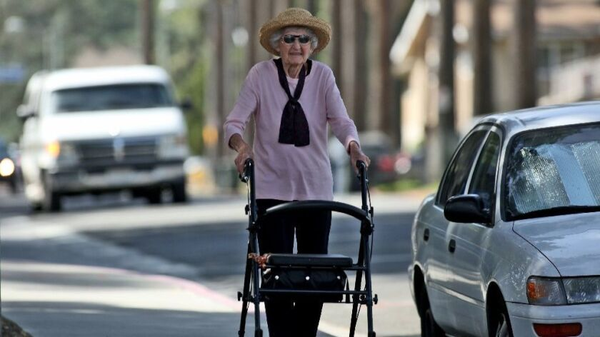 LOMA LINDA, CA-APRIL 15, 2015 : Betty Streifling, 101, on her morning walk in Loma Linda that one of