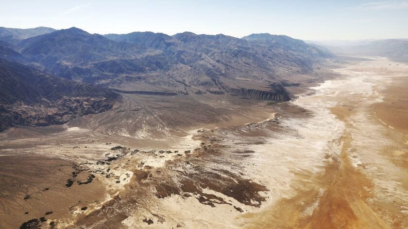 PANAMINT VALLEY, CA - APRIL 25, 2019 - Aerial view looking south of the Panamint Mountains in Panami