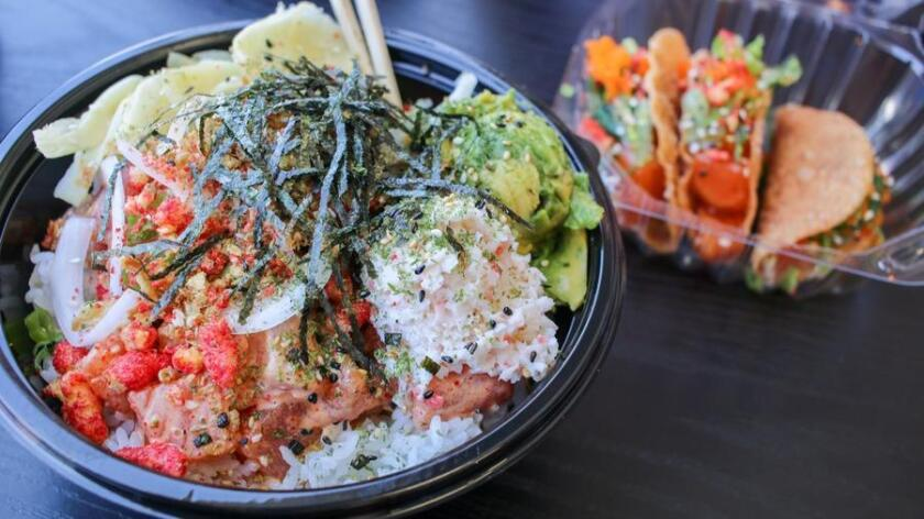 Poke bowls and tacos are on the menu at San Diego Poke Co. in Normal Heights. (Josh McNair)