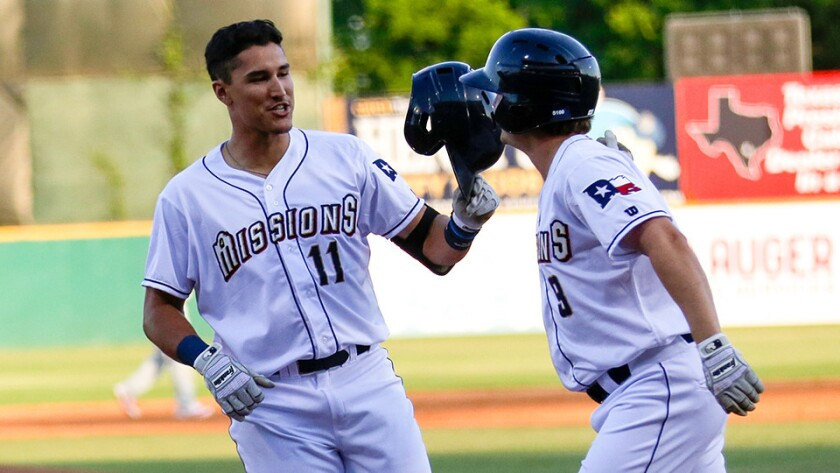 Padres outfield prospect Nick Torres, left, began the 2016 season at Double-A San Antonio. He was dr