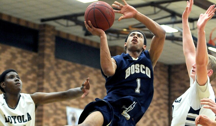 Tyler Dorsey is one of many basketball players who have transferred to or from St. John Bosco High in Bellflower. Dorsey, who helped the Braves win a state title last season, will play for Pasadena Maranatha next season.