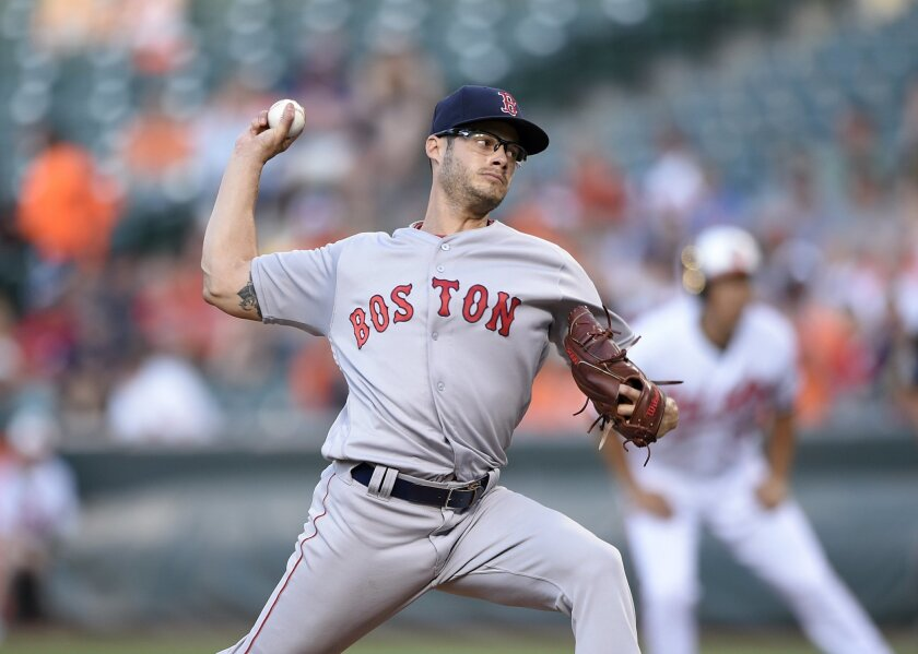 Boston Red Sox starting pitcher Joe Kelly (56) throws during the first inning of a baseball game against the Baltimore Orioles, Wednesday, June 1, 2016, in Baltimore. (AP Photo/Nick Wass)