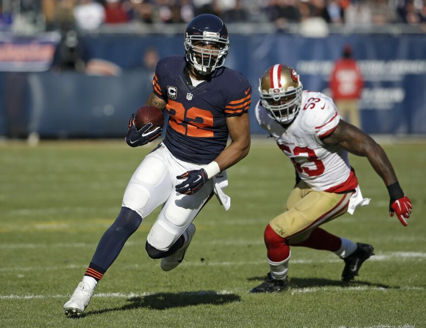 FILE - In this Dec. 6, 2015, file photo, Chicago Bears running back Matt Forte (22) rushes against the San Francisco 49ers during an NFL football game in Chicago. Forte, a two-time Pro Bowl running back announced on Instagram Friday, Feb. 12, 2016, morning that the team informed him this week it wi