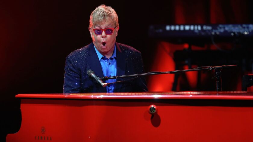 LOS ANGELES, CA, WEDNESDAY, JANUARY 13, 2016 - Elton John performs at the Wiltern Theater. (Robert G