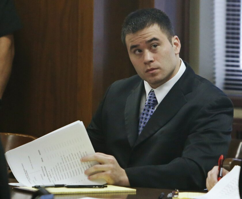 Daniel Holtzclaw sits in a courtroom in Oklahoma City, Monday, Nov. 2, 2015, for jury selection in his trial. Holtzclaw is a former Oklahoma City police officer facing dozens of charges alleging he sexually assaulted women while on duty. (AP Photo/Sue Ogrocki)