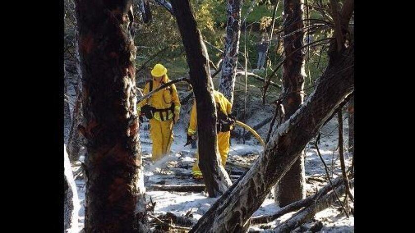 Fire crews work to extinguish a blaze that burned a hillside in Newport Beach in 2017.