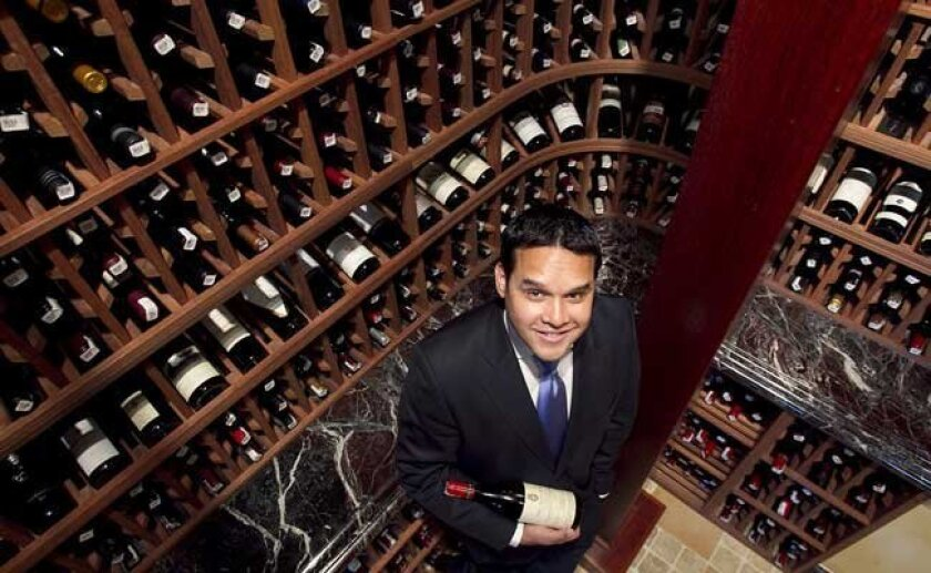 Jesse Rodriguez in his natural setting: one of the wine cellars at Addison.