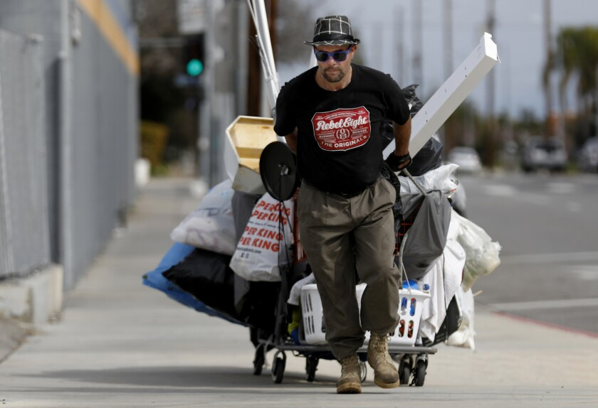 "Jason Brackett, who calls himself a ""garbologist,"" is a homeless man living in Chatsworth who ekes out a living by gathering items to recycle."