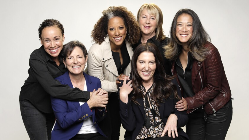 "Female directors are finding more opportunity in Hollywood, including on TV's ""Jessica Jones."" Zetna Fuentes, left, Mairzee Almas, Millicent Shelton, Liz Friedlander (seated), Rosemary Rodriguez, Jet Wilkinson."