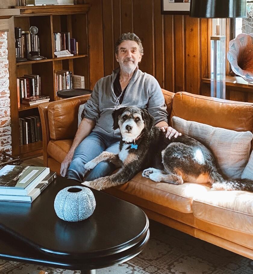 "Showrunner Chuck Lorre from ""Kominsky Method"" and dog Harvey."