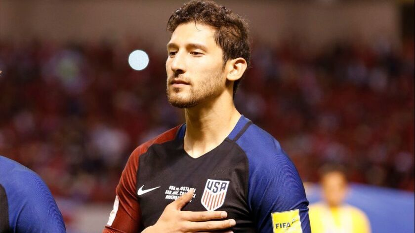 Omar Gonzalez of the U.S. men's national team sings the national anthem before a 2018 World Cup qual