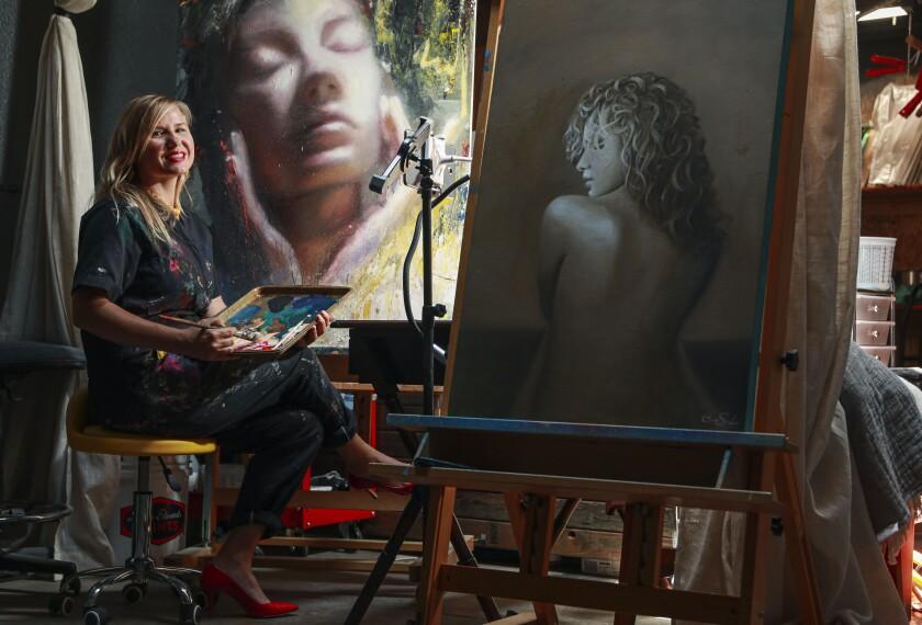 Visual artist Cassandra Schramm, in her studio at the IN Gallery in Barrio Logan