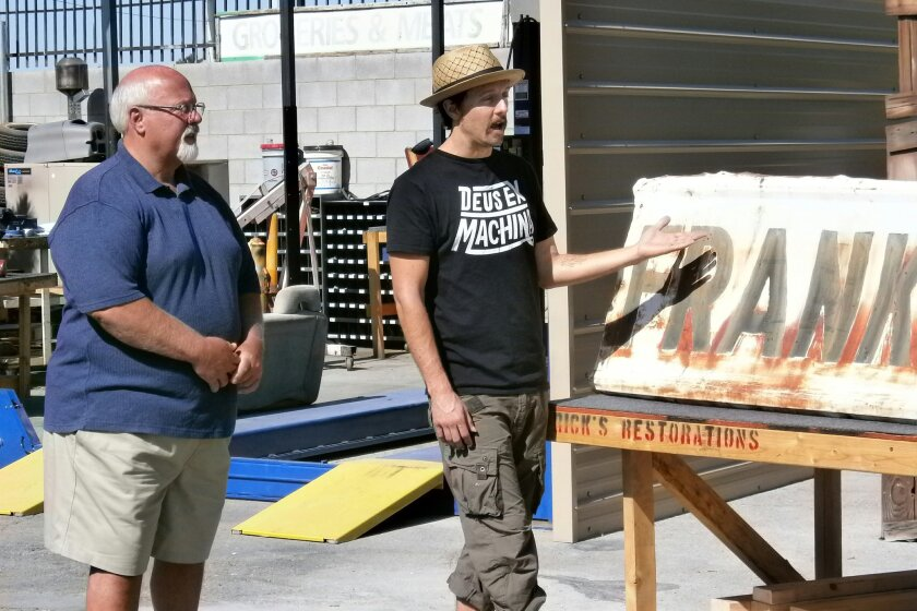 """Grammy Award-winning San Diego troubadour Jason Mraz (right) and his father, Tom, are featured on the June 18 episode of the History Channel's """"American Restoration."""""""