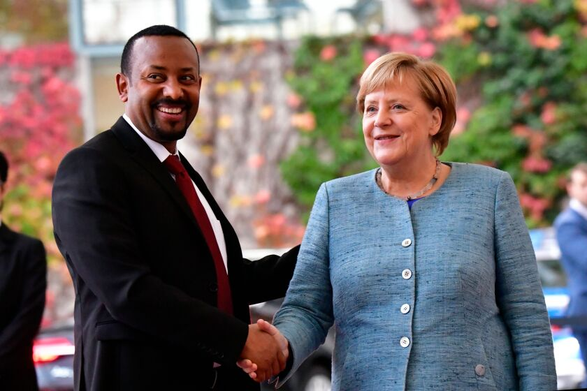Abiy Ahmed and Angela Merkel