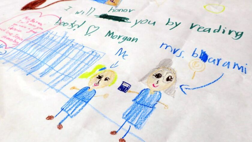 La Canada Elementary students drew memorial tributes Monday to longtime librarian and local resident