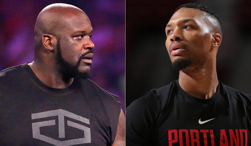 Lakers legend Shaquille O'Neal, left, and Portland Trail Blazers star Damian Lillard have exchanged diss tracks about each other in recent days.