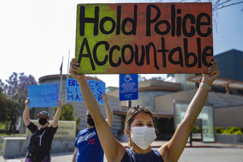 Protest over police brutality and the death of George Floyd  in  North Hollywood
