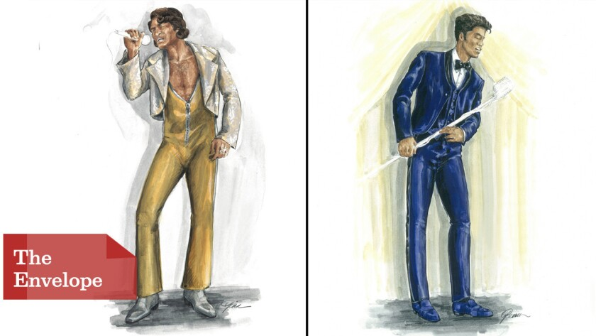 """Two costume sketches by Sharen Davis for the movie """"Get On Up."""""""