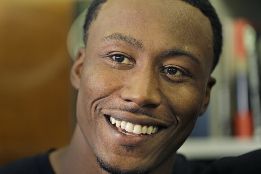 New York Jets' Brandon Marshall speaks to reporters after an NFL football organized team activity in Florham Park, N.J., Wednesday, May 27, 2015. (AP Photo/Seth Wenig)