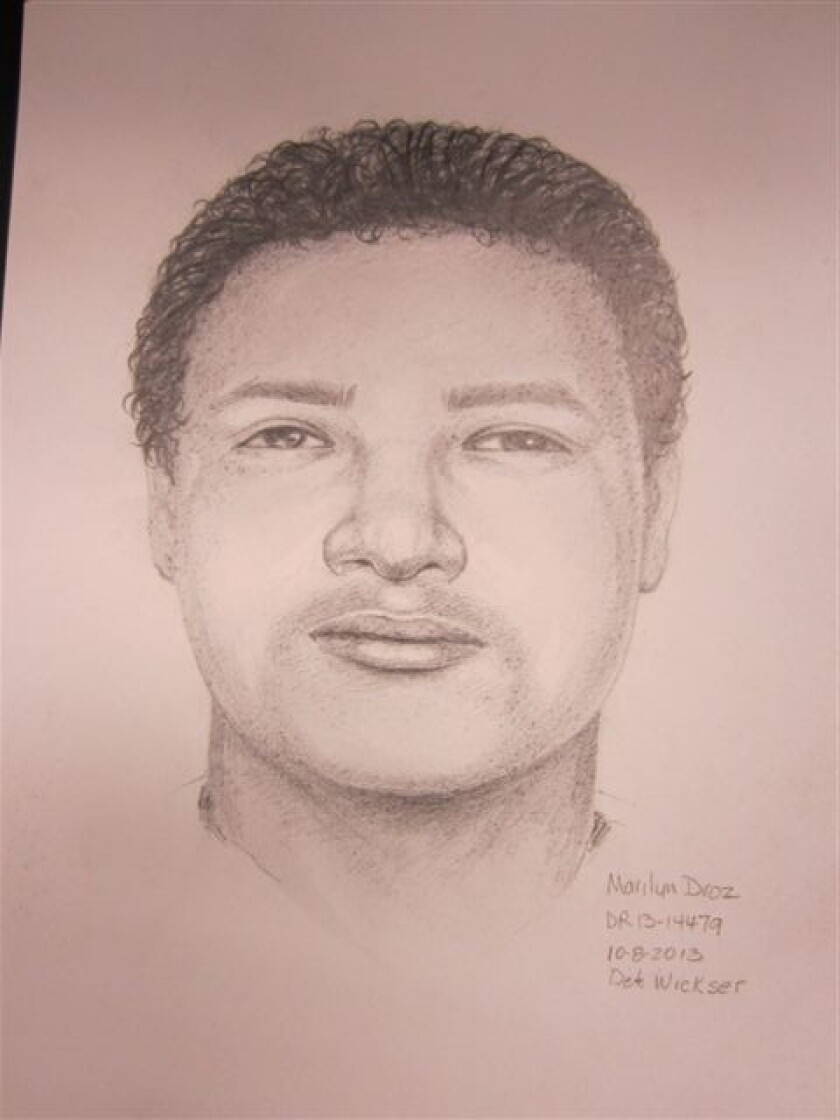 Sketch of a man wanted in a robbery and sexual assault in Huntington Beach.