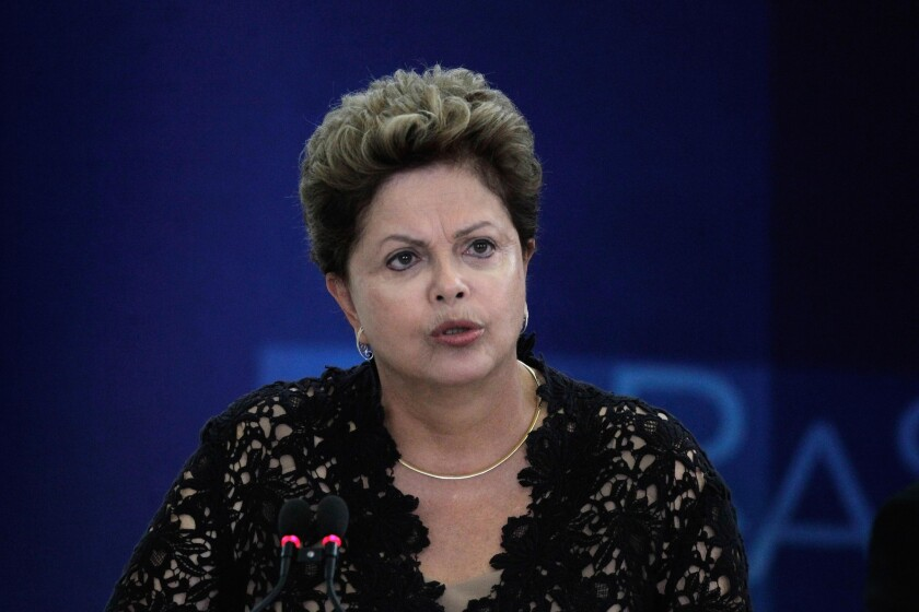 Brazil's President Dilma Rousseff speaks during a ceremony to present six new ministers to her cabinet, at the Planalto Presidential Palace in Brasilia, Brazil on Monday.