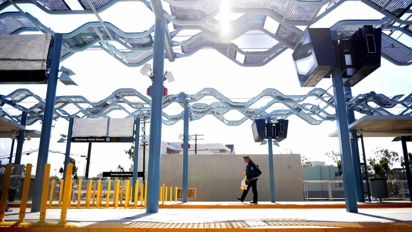 SANTA MONICA-CA-MARCH 30, 2016: Trains are tested at the new Metro Expo Line at 4th Street and Color