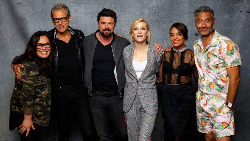 """Thor: Ragnarok's"" Rachel House, left, Jeff Goldblum, Karl Urban, Cate Blanchett, Tessa Thompson and director Taika Waititi."