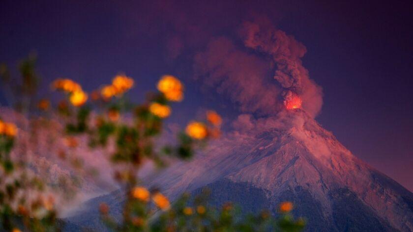 Residents evacuate after Volcano de Fuego volcano erupted, Escuintla, Guatemala - 19 Nov 2018