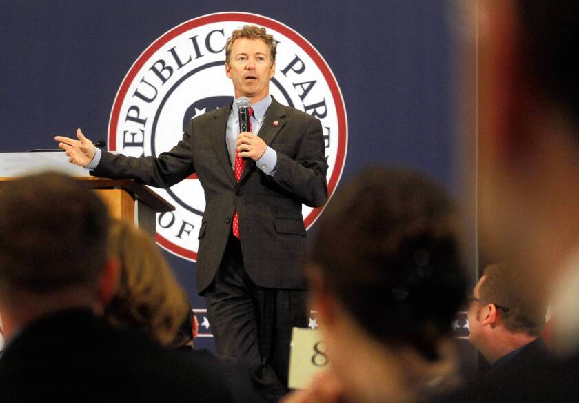 Sen. Rand Paul (R-Ky.) speaks at the Lincoln Day dinner in Cedar Rapids, an annual event hosted by the Iowa Republican Party.