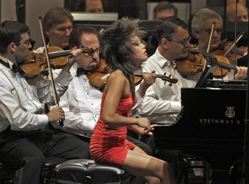 Chinese pianist Yuja Wang at her 2011 Hollywood Bowl debut.