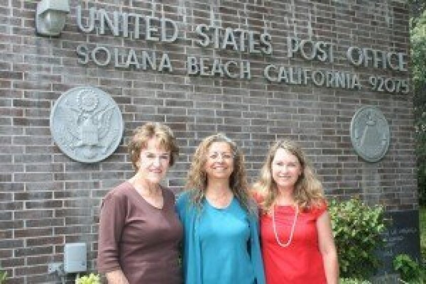 Solana Beach Civic and Historical Society Board Member Trudy Synodis, Postmaster Betty Rabreau and Seaweeders Member Michele Stribling. Photo/Kristina Houck