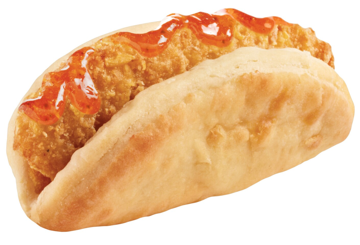 Taco Bell is testing a new biscuit taco filled with your choice of crispy chicken and jalapeno honey sauce (shown), crispy chicken and gravy, egg, sausage and cheese or bacon, egg and cheese.