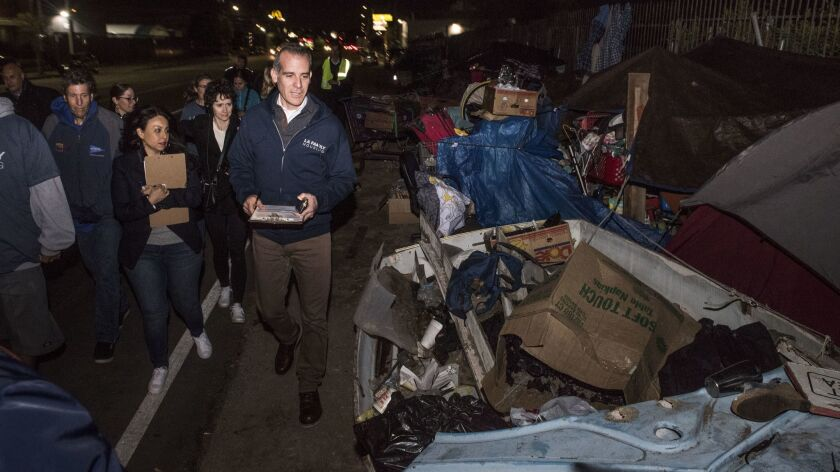 Mayor Eric Garcetti walks in North Hollywood during a count of L.A.'s homeless population