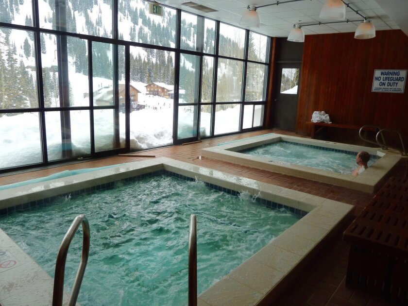 After a day of skiing, guests can relax in the whirlpool spa at Alta Lodge.