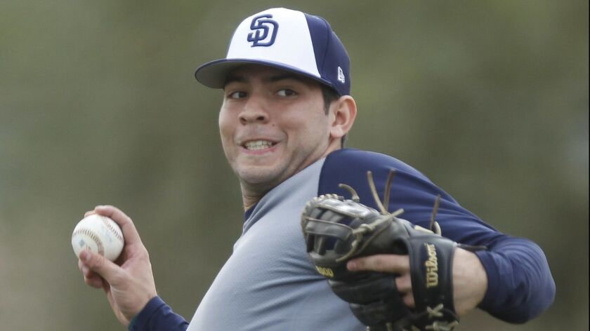 Padres' infielder Hudson Potts during Padres spring training at the Peoria Sports Complex in Peoria, Arizona on Wednesday, Feb. 13, 2019.