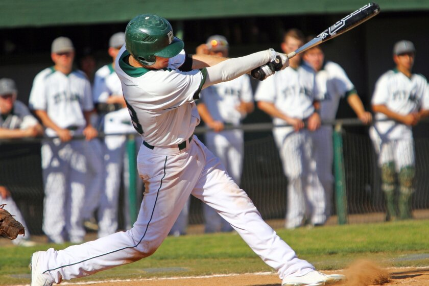 Poway senior Tyler Nevin (shown in a game earlier this season) had a double and two walks in five trips to the plate in the Titans' win over Rancho Bernardo on Wednesday.