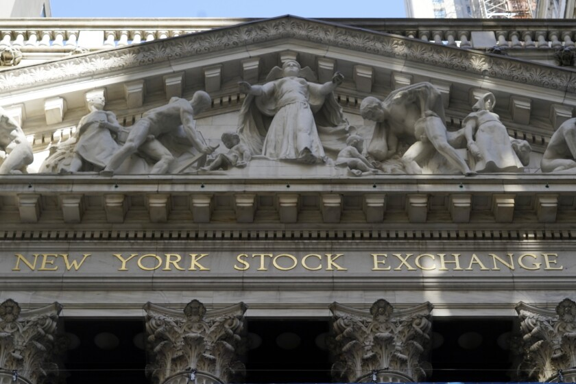 FILE - In this June 16, 2021 file photo, the facade of the New York Stock Exchange. Stocks fell in early trading Tuesday, Aug. 17, as data showed the coronavirus pandemic is still holding back the U.S. economy. The S&P 500 index fell 0.6%, the Dow Jones Industrial Average fell 0.6% and the Nasdaq composite fell 1%. (AP Photo/Richard Drew, File)