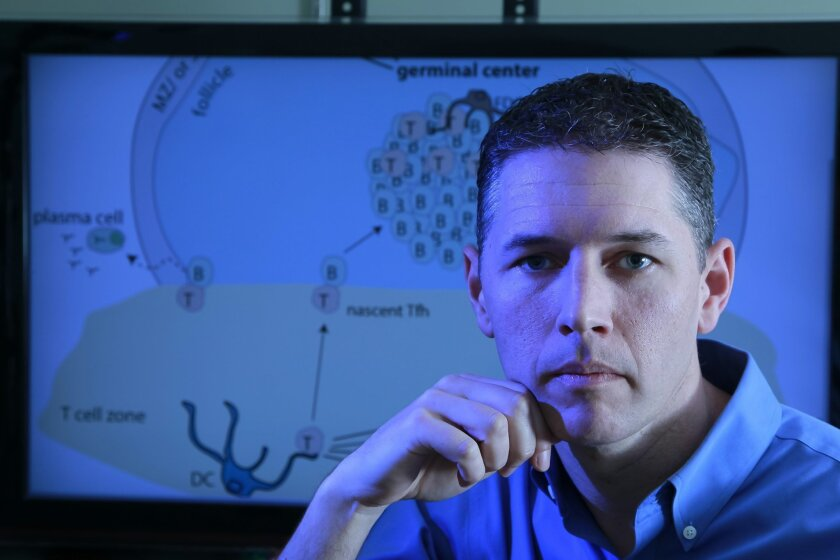 Shane Crotty, a professor at the La Jolla Institute for Allergy & Immunology, is working on an HIV vaccine.